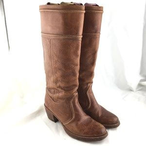 Frye Jane 14L knee high tall boots brown leather 7